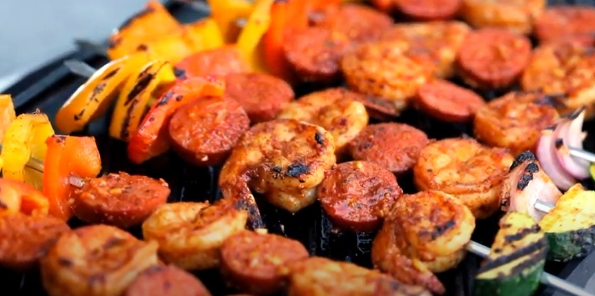 Cajun Shrimp and Sausage Veggie Skewers Recipe