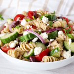 greek pasta salad with cucumber and tomato recipe