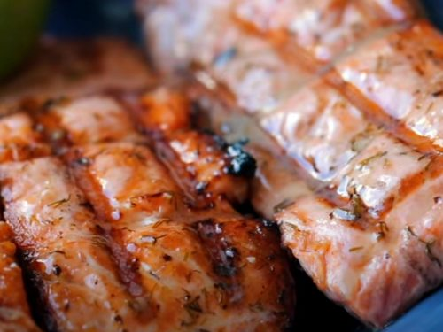 Grilled Salmon with Dill Pickle Butter Recipe
