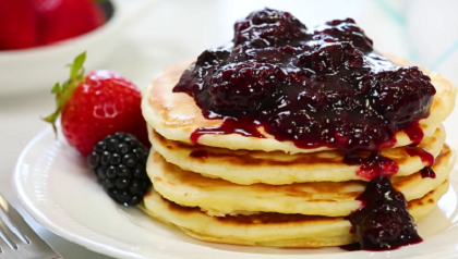lemon baked pancake with berry sauce recipe