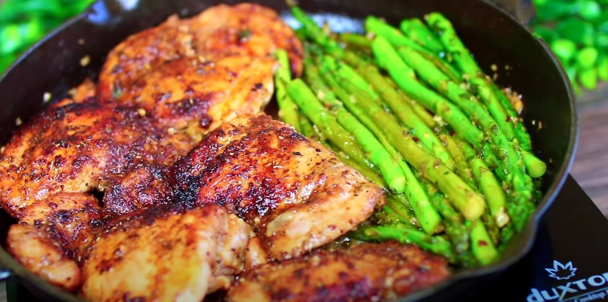 Lemon Garlic Butter Herb Chicken with Asparagus Recipe