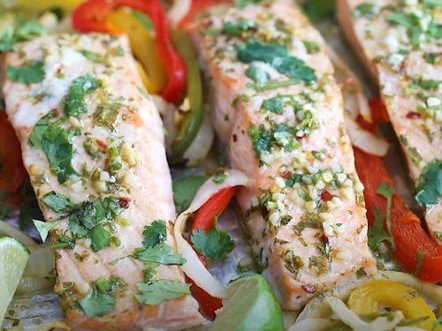 Sheet Pan Garlic Lime Salmon Fajitas Recipe