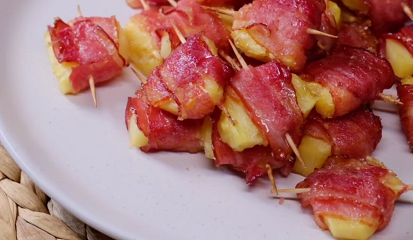 spicy sweet bacon wrapped pineapple bites recipe