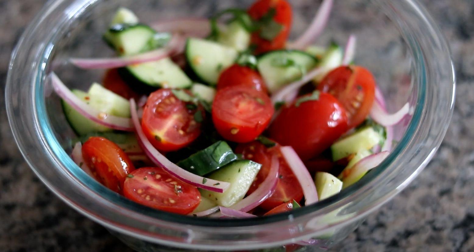 Tomato, Cucumber, and Sweet Onion Salad with Cumin Salt Recipe
