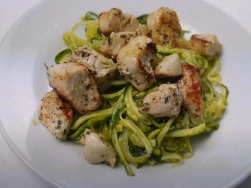 zucchini noodles with pesto & pine nuts recipe