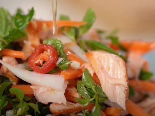 salmon with thai rice salad recipe