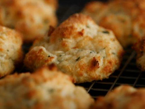 cheddar-polenta biscuits with ham salad recipe