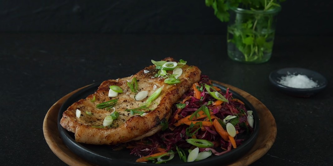 barbecue pork chops with red cabbage slaw recipe