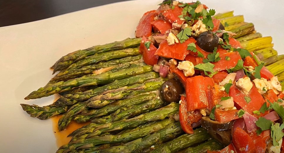 grilled asparagus & red onions with olive oil and balsamic vinegar recipe