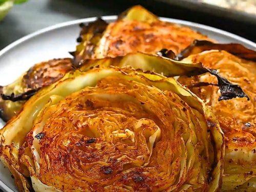 crispy roasted cabbage steaks recipe