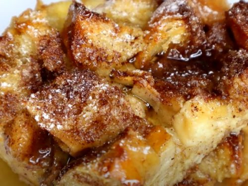 boozy caramel french toast casserole recipe