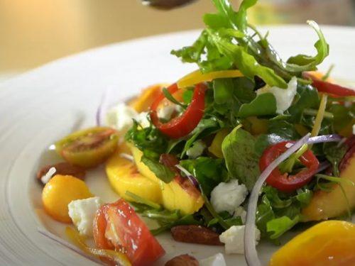grilled peaches, arugula & feta salad recipe