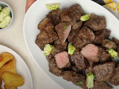 Air Fryer Garlic Steak Bites Recipe