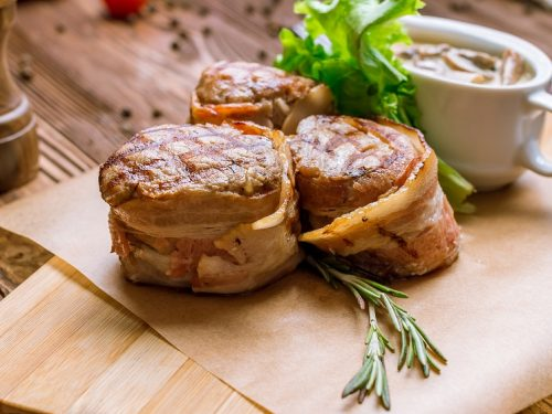 Bacon Wrapped Pork Medallions Recipe - Pan-seared bacon-wrapped pork tenderloin cuts