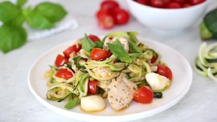 chicken and zucchini noodle caprese recipe