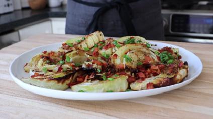 roasted cabbage with bacon gremolata recipe