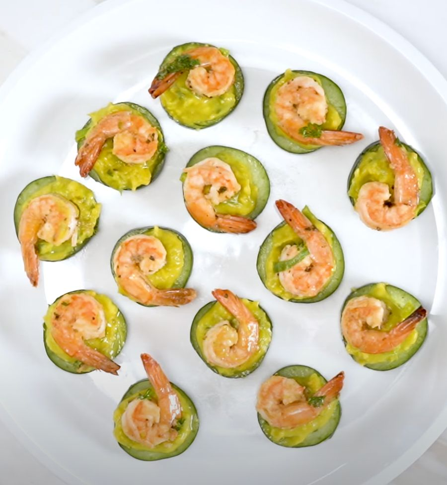 Shrimp Appetizers with Avocado and Cucumber Recipe