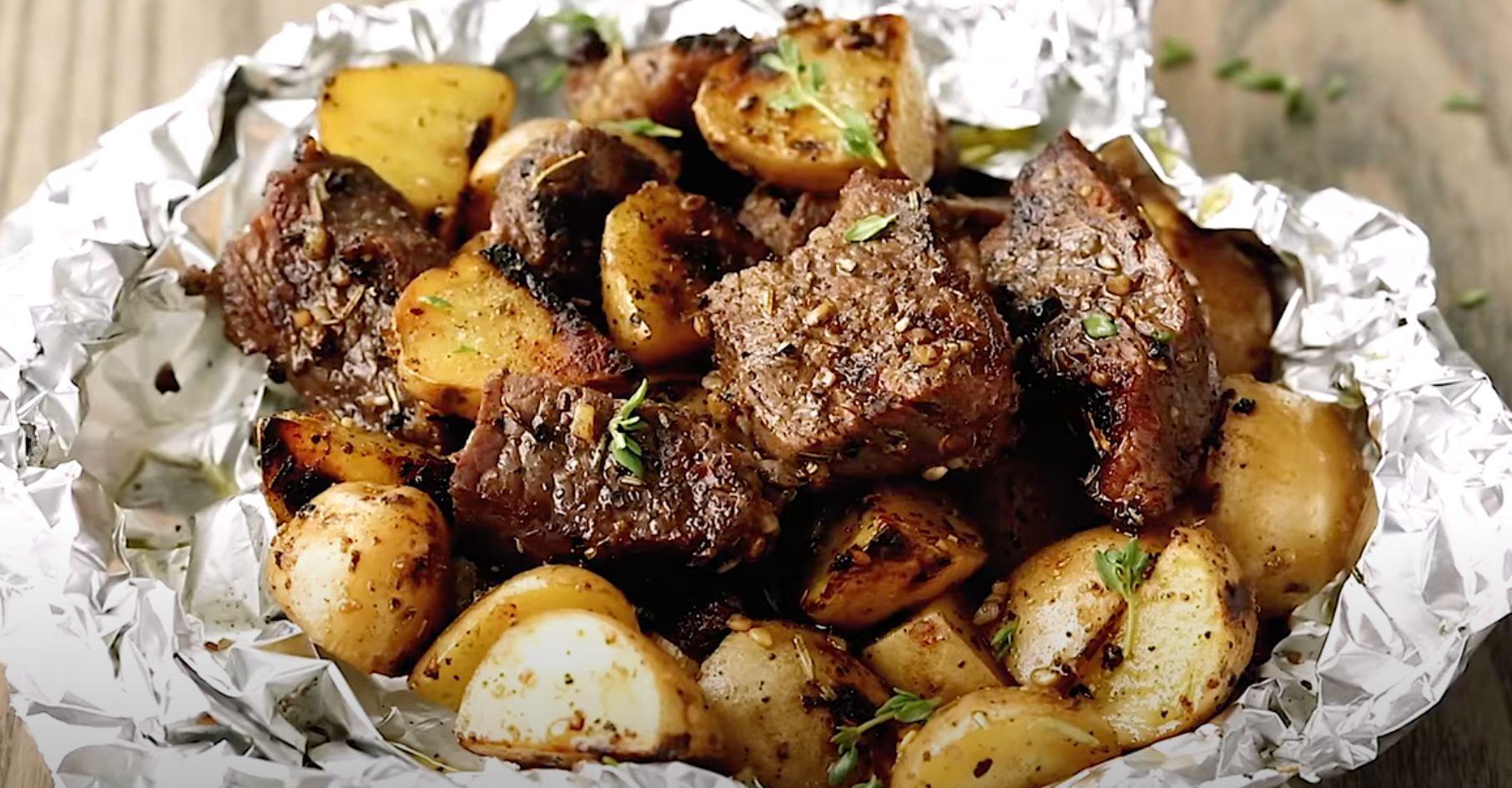 Butter Garlic Herb Steak Foil Packets Recipe