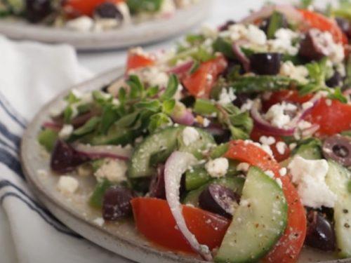 spiralized greek cucumber salad with lemon and feta recipe