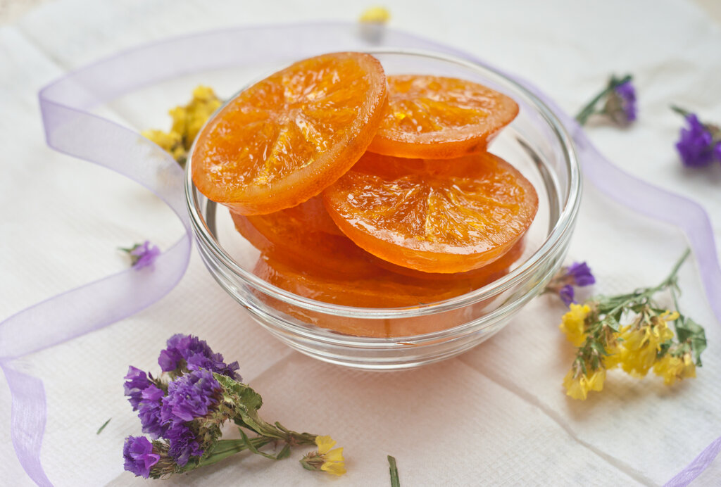 Candied Orange Slices Recipe, orange slices coated with sugar