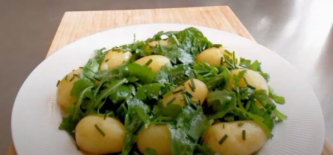 Arugula, Potato, and Green-Bean Salad with Creamy Walnut Dressing Recipe