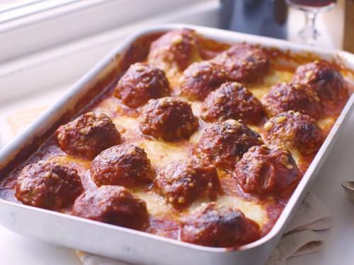 cast-iron cheesy baked meatballs recipe