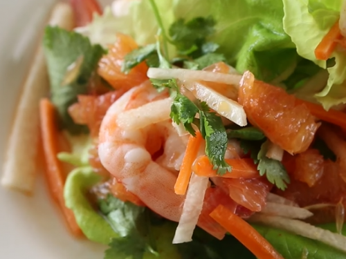 citrus-marianted shrimp with grilled-onion and orange salad recipe