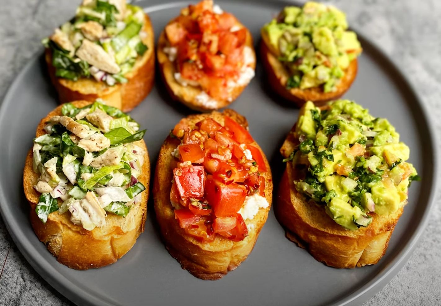 Classic Party Bruschetta with Toppings Recipe