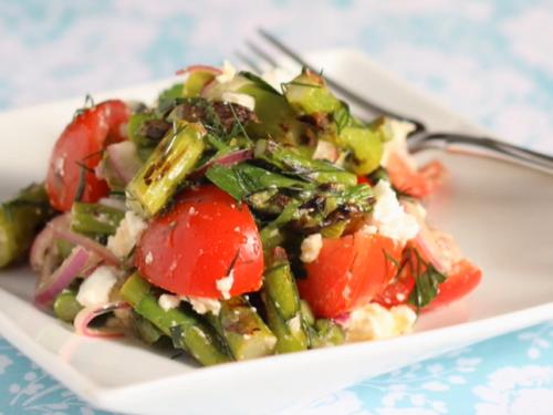 grilled asparagus salad with lemon & feta recipe