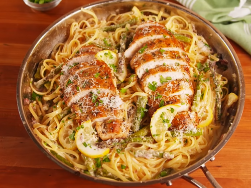 grilled chicken with lemon asparagus pasta recipe