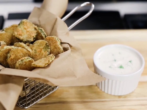 oven fried pickles with buttermilk ranch dip recipe