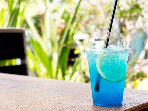 Sonic Ocean Water Recipe, blue-colored drink with Sprite and coconut extract
