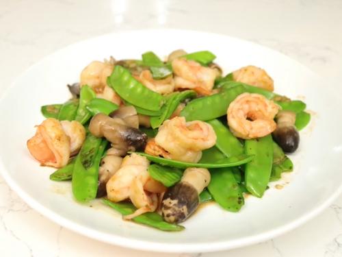 stir-fry shrimp with ginger and snow peas recipe