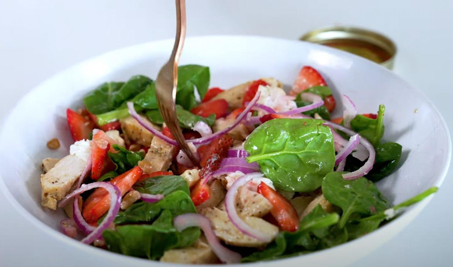 Strawberry Chicken Salad with Strawberry Balsamic Dressing Recipe