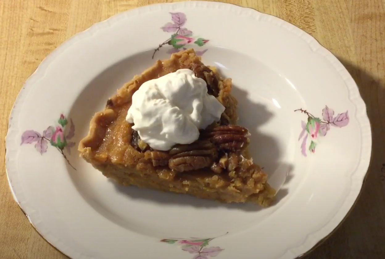 Sweet Potato and Pecan Pie with Cinnamon Cream Recipe