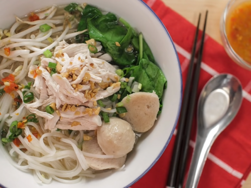 thai-inspired chicken noodle soup with mint green tea recipe