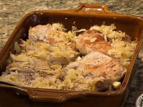 pork chops with apples, sweet potatoes, and sauerkraut recipe