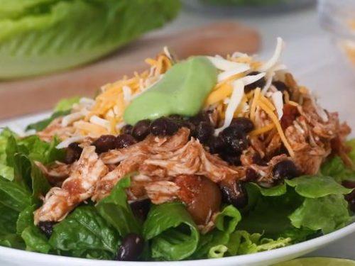 crock pot chicken and black bean taco salad recipe