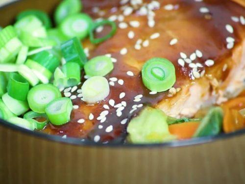 honey-teriyaki salmon and veggie rice Bowl recipe