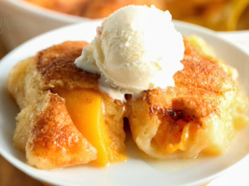 4-ingredients peach dumplings recipe