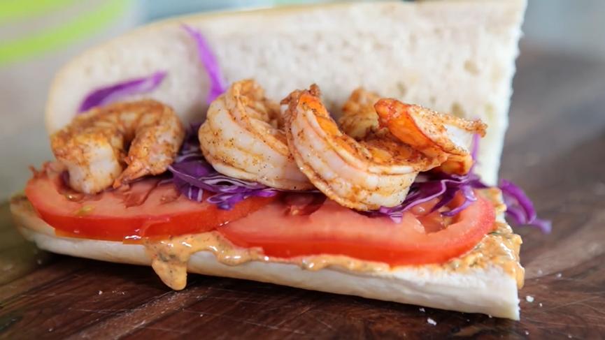 a healthy-version shrimp po'boy recipe