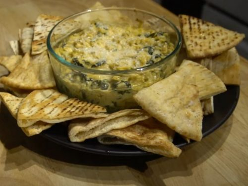 Spinach Artichoke Dip with Spiced Pita Chips Recipe