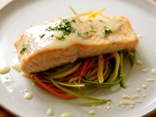 broiled salmon with beurre blanc and asparagus almondine recipe