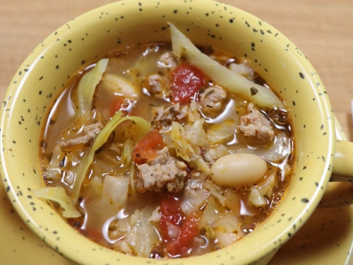 cabbage and white bean soup with prosciutto recipe