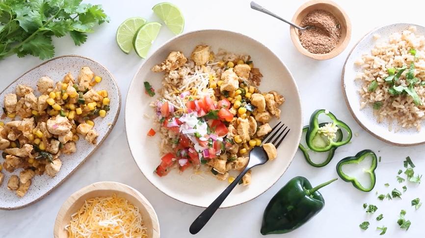 chicken taco poblano rice bowls recipe