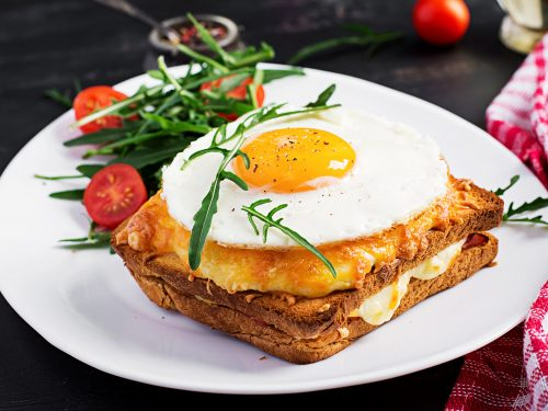 easy croque madame ham and grilled cheese sandwich with fried egg recipe