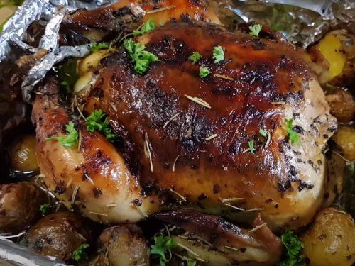 Garlic-Rosemary Roasted Chicken and Potatoes Recipe