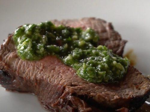 Grilled Beef Tenderloin with Spicy Fresh Herb Vinaigrette Recipe