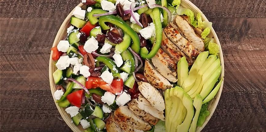 loaded greek chicken avocado salad recipe