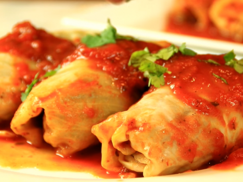 pan-fried cabbage rolls in tomato sauce recipe